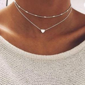 ❤️ 3for$25/ Silver Layered Heart Choker Necklace
